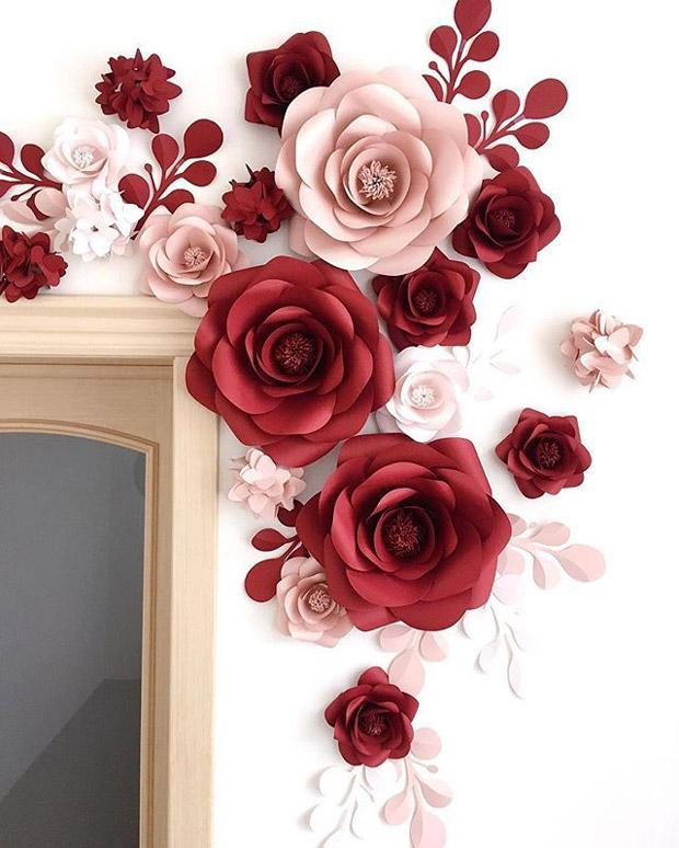 Molde De Flor Faça Sua Flor De Papel Simples E Fácil